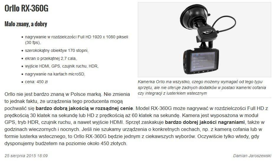 Test kamery samochdowej RX-360G komputer świat