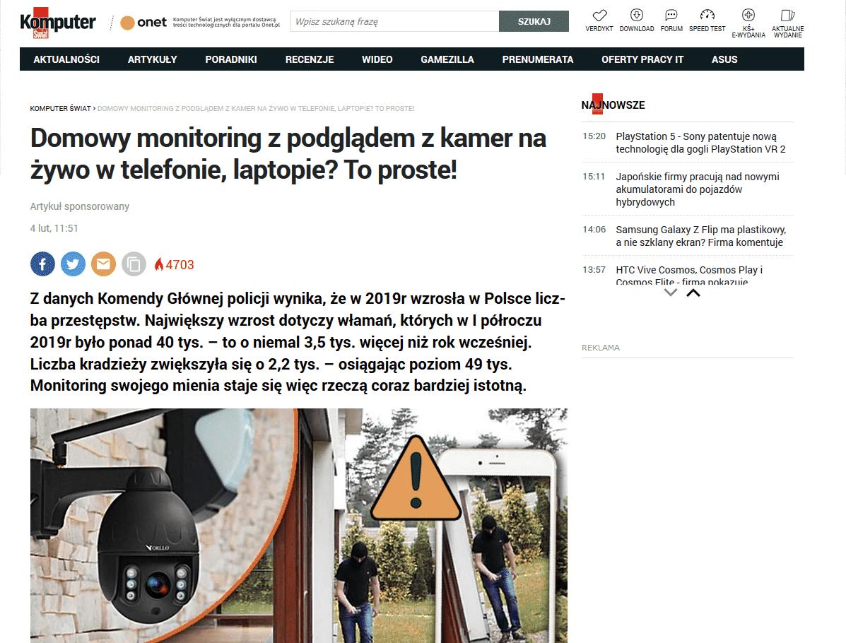 kamera do monitoringu domu biura firmy powiadomienia alarm telefon orllo.pl