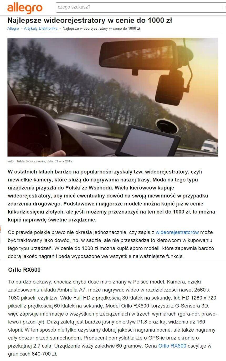 Najlepszy wideorejestrator Orllo RX-610