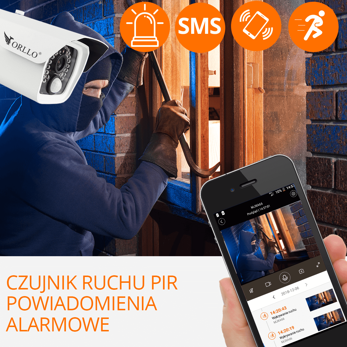 kamera gsm do monitoringu alarm czujnik ruchu orllo.pl