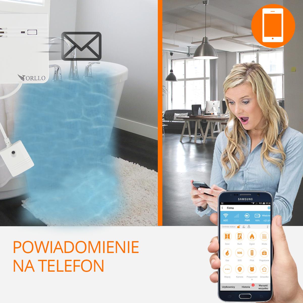 Centrala alarmowa czujnik zalania powiadomienie-orllo-pl