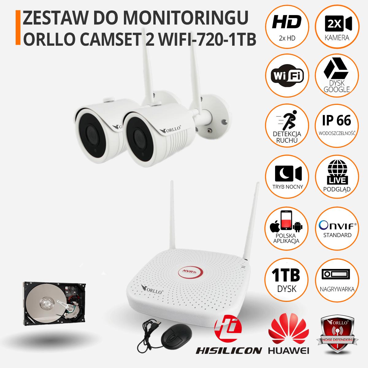 Zestaw do monitoringu CAMSET 2 720 funkcje orllo-pl