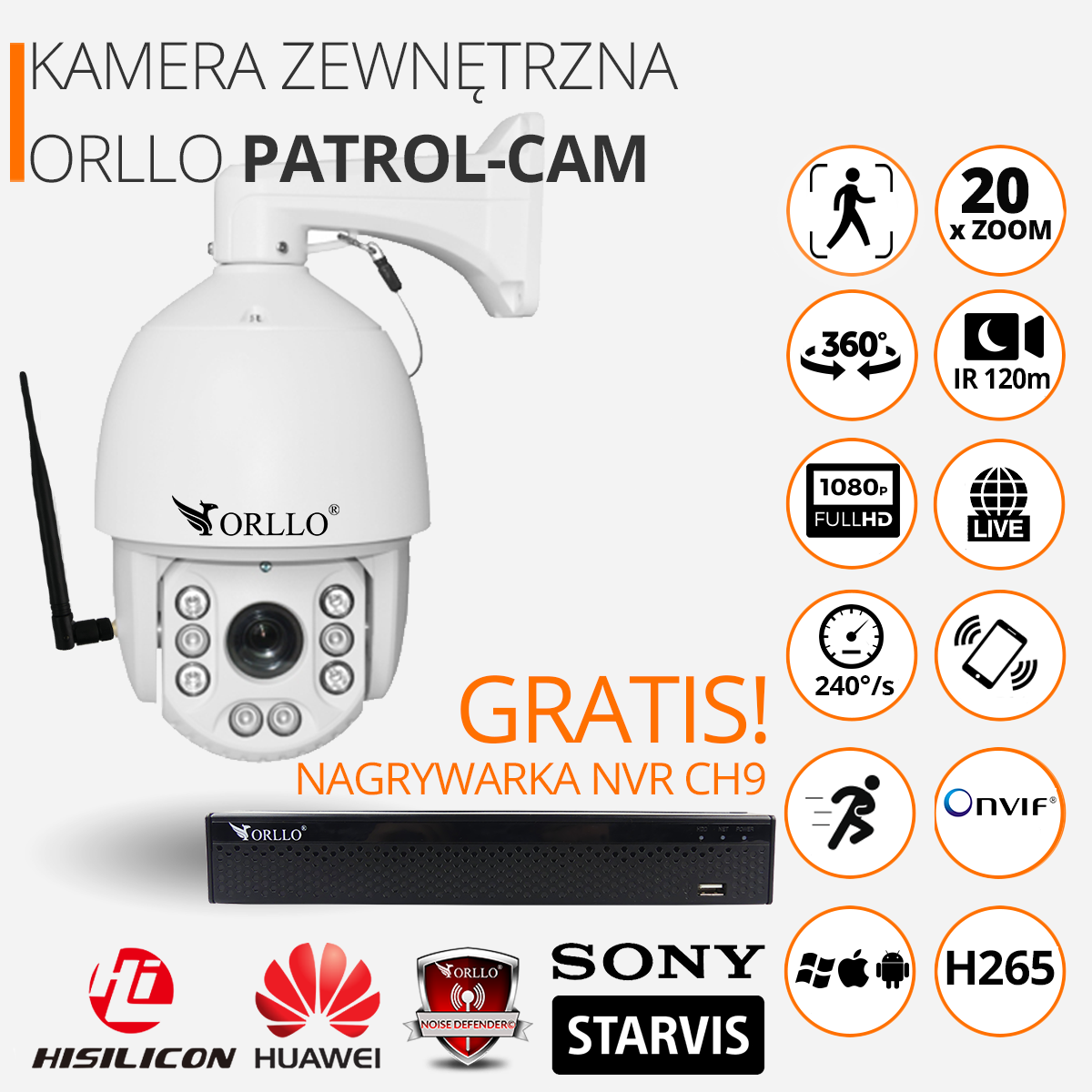 kamera podązajaca za ruchem obrotowa z zoom orllo.pl