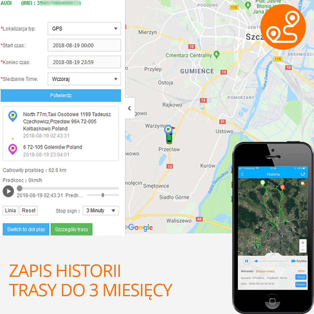LOkalizator GPS historia trasy od 3 miesiecy orllo.pl
