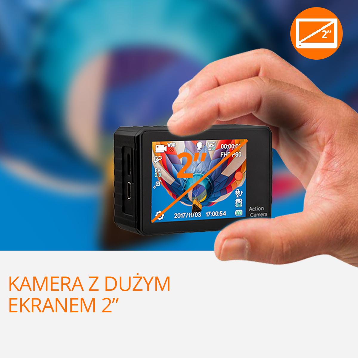kamera sportowa xpro go 4k duzy ekran orllo.pl