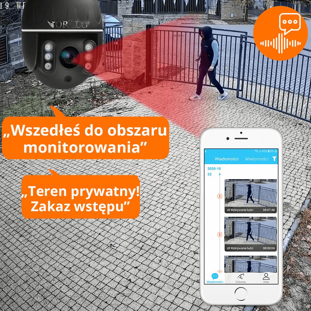 kamera zewnetrza ip WiFi Tryb Nocny podczerwień orllo.pl